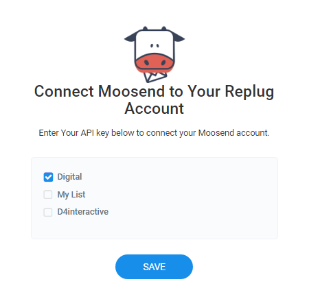 Moosend list connection-Replug