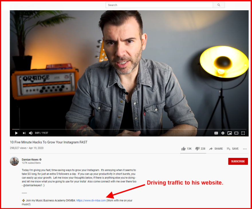 Point YouTube viewers to your blog posts
