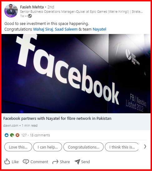 Shows a news related to Facebook as an example of industry news