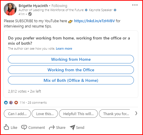 Shows a LinkedIn Poll as a post example