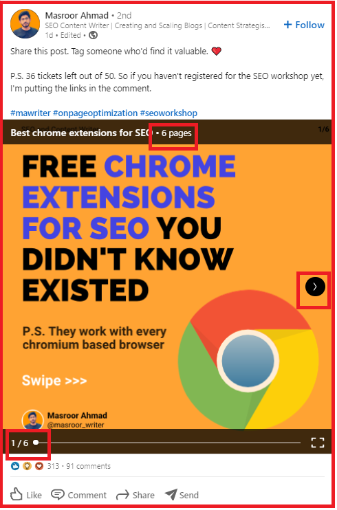 Shows a slideshare post abour Google Chrome extensions