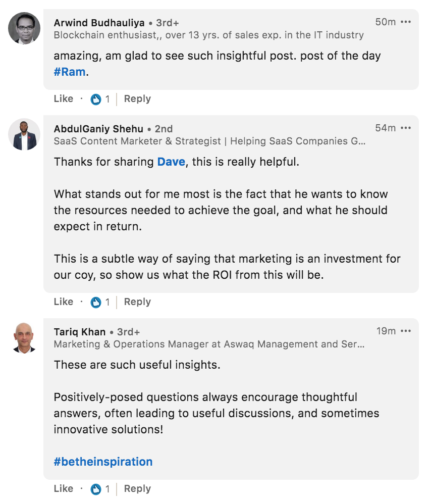 Arwind Budhauliya abd other famous marketing specialists commenting on LinkedIn posts