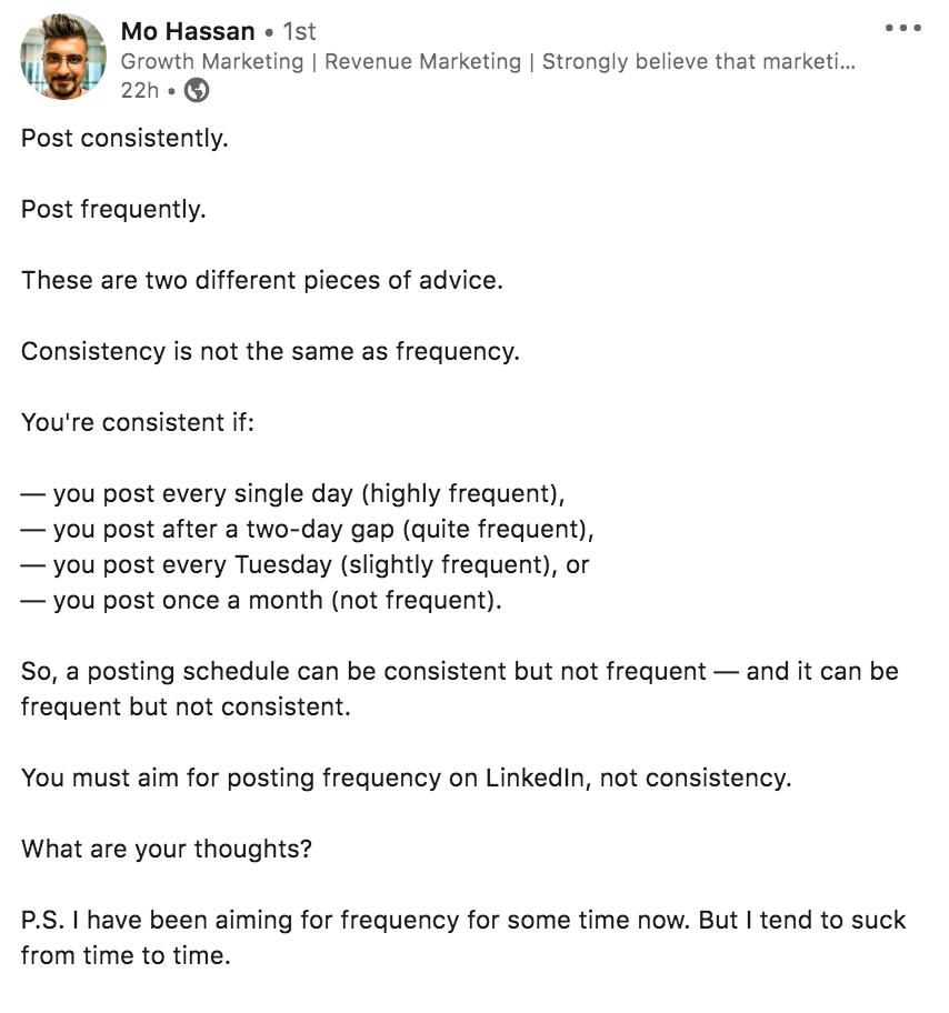 Mo Hassan's sample LinkedIn post as a Growth Marketer