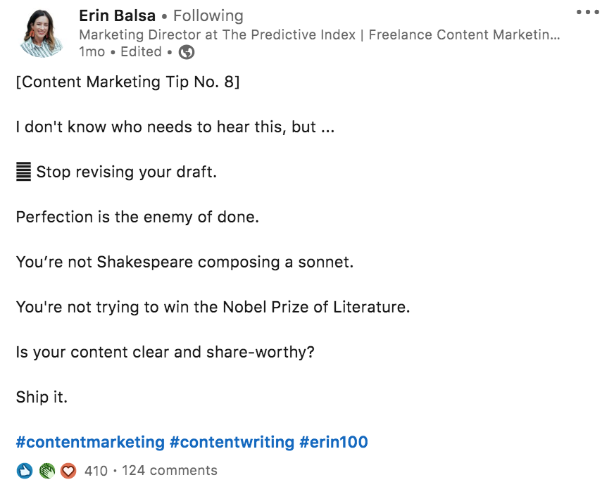 The predictive Index Marketing Director posting a content Marketing Tip