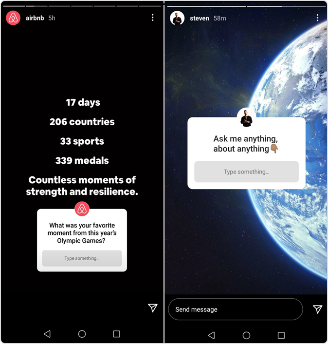 Instagram story featuring Questions by influencers