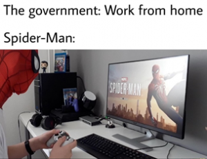 spider man work from home meme